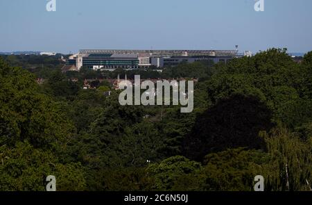 London, UK. 11th July 2020 Twickenham Stadium / Rugby Ground - view from Richmond Hill across East Twickenham. Andrew Fosker / Alamy Live News - Stock Photo