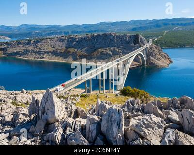 Bridge mainland to Krk island in Croatia Europe - Stock Photo