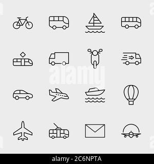 Public Transport Related Line Icons. Icon Bus, Bike, Track. Editable Stroke - Stock Photo