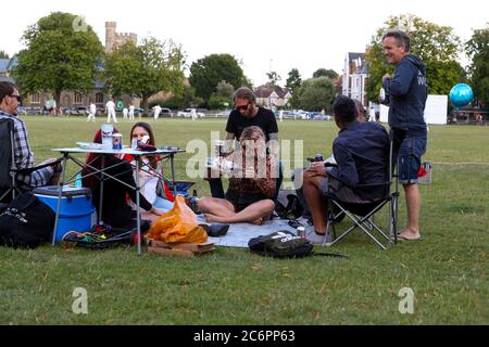London, UK. 11th July 2020 Recreational cricket returns after the lockdown due to Covid-19. Twickenham Cricket club play East Molesey on Twickenham Green, West London. Andrew Fosker / Alamy Live News - Stock Photo