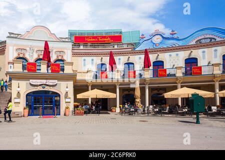 VIENNA, AUSTRIA - MAY 13, 2017: Madame Tussauds Museum is a major tourist attraction in Vienna, Ausria. Madame Tussauds Museum is located in the Prate - Stock Photo
