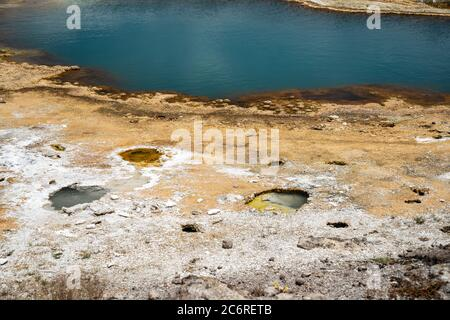 Black Opal spring, located in the Biscuit Basin, a geothermal feature area of Yellowstone National Park