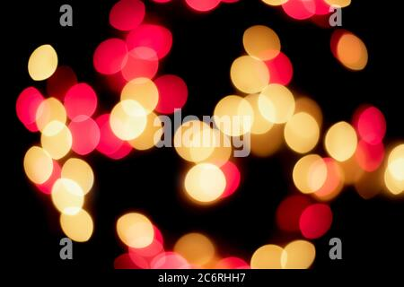 red and yellow led bokeh lights