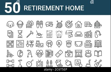 set of 50 retirement home icons. outline thin line icons such as guitar, gym, wheel chair, sudoku, playing cards, old people, retirement home, wool, p - Stock Photo