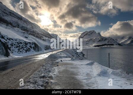 Beautiful view of  landscape on Lofoten Island belong the ocean