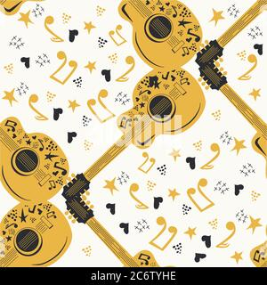 Handdrawn seamless pattern with country music symbols - notes, guitar, stars and elements - Stock Photo