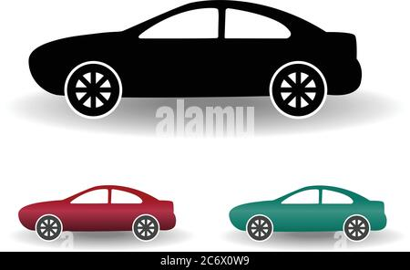 modern car icon black and white flat simple vector illustration with shadow, red and green color variants - Stock Photo