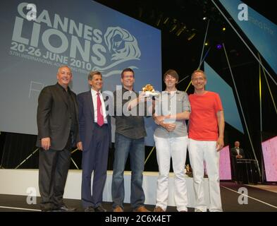 Cannes, France - June 25, 2010: Cannes Lions international Festival of Creativity with Jung von Matt Hamburg receiving Gold Lion for NBC Universal., Film Craft, Young Lions Competiton, Titanium Lions, Advertiser of the Year, Agency of the Year, Winner, Ge | usage worldwide - Stock Photo