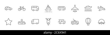 Set of Public Transport Related Vector Line Icons. Contains such Icons as Bus, Bike, Scooter, Car, balloon, Truck, Tram, Trolley, Sailboat, powerboat, - Stock Photo