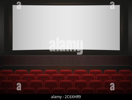 Empty Movie Theater Auditorium With Red Seats Rows Of Red Cinema Stock Vector Image Art Alamy