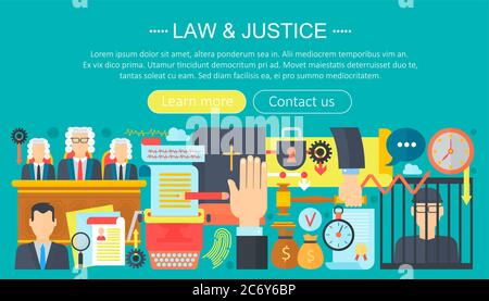 Law and justice design concept with prisoner, bible and court of law tribunal infographics template design, web header elements, poster banner. Crime Vector illustration - Stock Photo