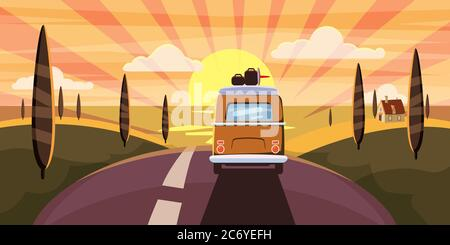 Sunset Van camper, bus on the road goes to the sea for a summer vacation. Holiday season vacation at sea. Travel leisure background. Template banner - Stock Photo