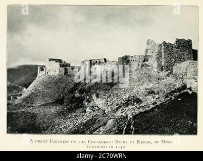 Early 19th century photograph of a great Fortress of the Crusaders: Ruins of Kerak, in Moab [Jordan] Fortified in 1142 From the book Jerusalem and the crusades by Blyth, Estelle Published in London by T.C. & E.C. Jack Circa 1913 - Stock Photo