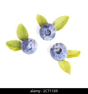 Blueberries with leaves isolated on white background, top view - Stock Photo