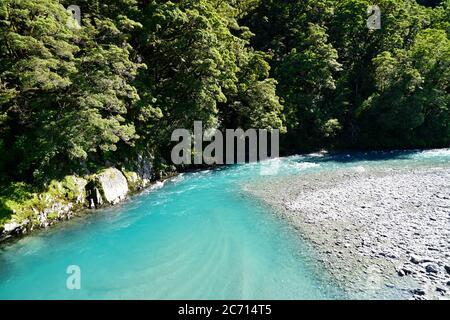 Blue pools track at Mt. Aspiring - Stock Photo