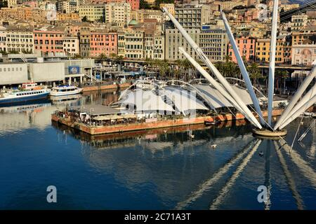 The Porto Antico, with its many cultural attractions and leisure opportunitie and the city of Genoa seen from above. - Stock Photo