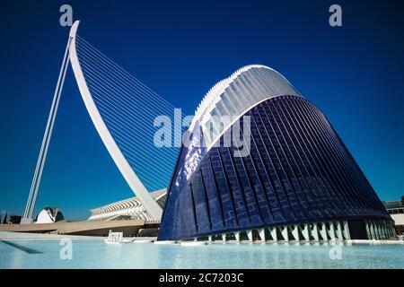 The Agora arena and Assut de l'Or bridge in the City of Sciences and Arts in the Turia Park, Valencia, Spain.