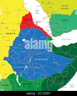 Ethiopia political map - Stock Photo