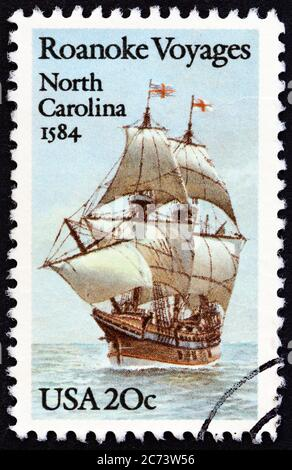 USA - CIRCA 1984: A stamp printed in USA shows Galleon Elizabeth, circa 1984. - Stock Photo