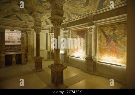 Italy, Basilicata, Acerenza, the Cathedral of Acerenza, dedicated to Santa Maria Assunta and San Canio Bishop in the Romanesque-Gothic style of the 13th chentury ad. Ferilli crypt