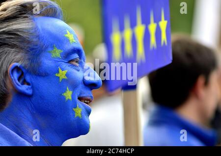 Anti-Brexit protester at the People's Vote March in support of a second Brexit referendum, London, 20th October 2018 - Stock Photo