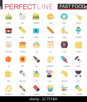 Vector set of flat Fast food icons isolated. - Stock Photo