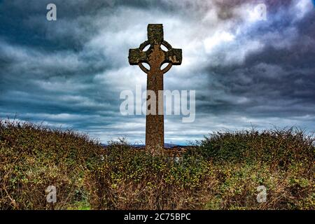 A Celtic cross, Iona, Inner Hebrides off the Ross of Mull, Argyll and Bute, Scotland, United Kingdom. - Stock Photo