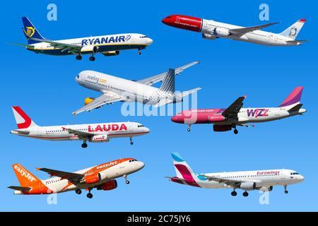 Frankfurt, Germany - April 7, 2020: Airplanes Low-Cost Airlines from Europe Ryanair Eurowings Easyjet Lauda. - Stock Photo