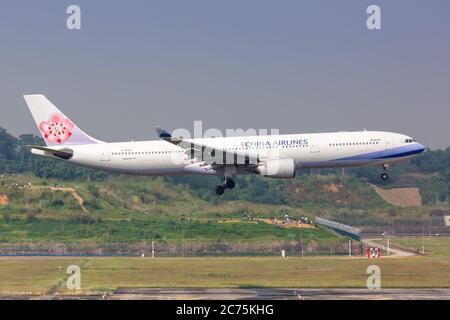 Chengdu, China - September 22, 2019: China Airlines Airbus A330-300 airplane at Chengdu Shuangliu airport (CTU) in China. Airbus is a European aircraf