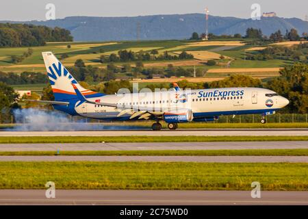 Stuttgart, Germany - July 9, 2020: SunExpress Boeing 737-800 airplane at Stuttgart Airport (STR) in Germany. Boeing is an American aircraft manufactur - Stock Photo