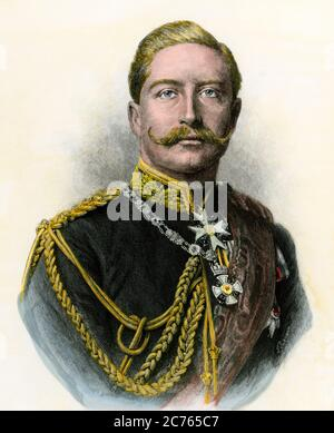 German Emperor William II, known as 'The Kaiser.' Hand-colored woodcut - Stock Photo