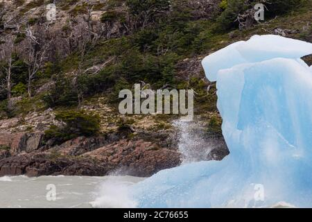 Icebergs in Lake Grey. Torres del Paine National Park. Patagonia. Chile - Stock Photo