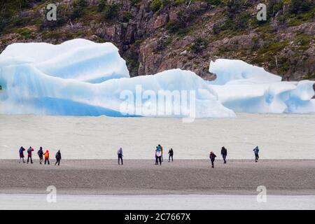 People walking near icebergs from Grey Glacier - Stock Photo