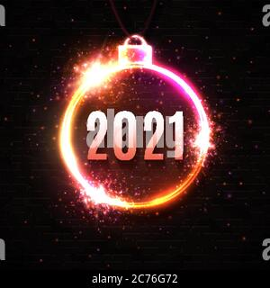 New Year neon sign on dark red background. 2021 glowing text in Christmas ball electric led lamp frame with light sparkles. Celebration party, holiday - Stock Photo