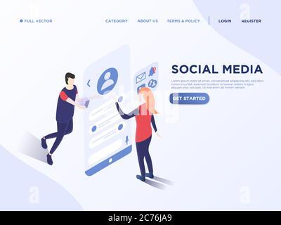 People communication via social media chat. 3d vector isometric illustration