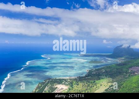 Aerial view of Le Morne Brabant peninsula. Mauritius landscape