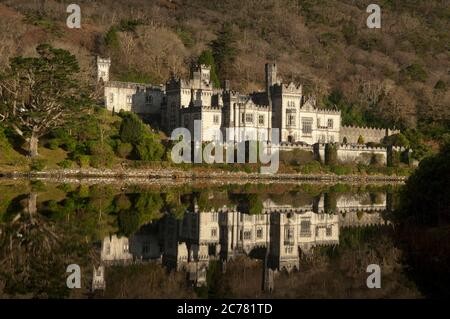 Kylemore Abbey,and lake. Connemara, Galway  Ireland - Stock Photo
