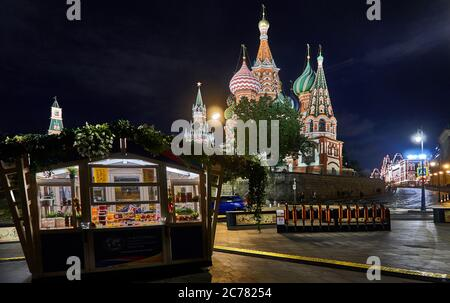 Moscow.   from the Vasilievsky Slope, view of the colorful cathedral of St.Basil illuminated at night in  Red Square,