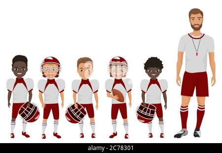 Vector Cartoon flat school american football boys team standing with their coach trainer - Stock Photo