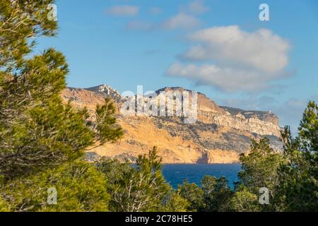 View from the Calanques National Park to Cape Canaille, Cassis, Provence, France, Europe