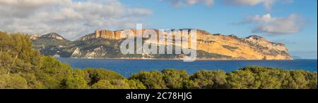 View from the Calanques National Park to Cape Canaille, Cassis, France, Europe