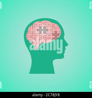 Human Head With Puzzled Brain Over Green Background, Vector Illustration