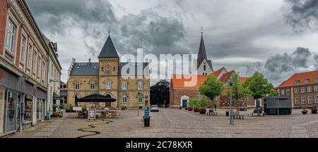 Main square in old city of Varde, Denmark
