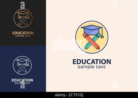 Education Logo, Graduation Hat And Pencil Design Concept. - Stock Photo