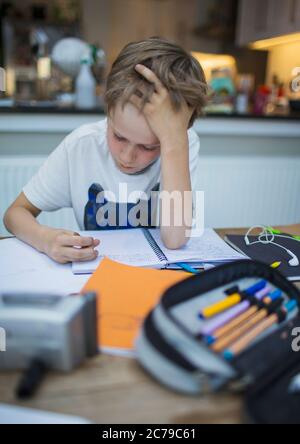Focused boy home schooling at table - Stock Photo