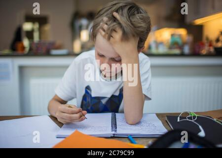 Focused boy doing homework at table - Stock Photo