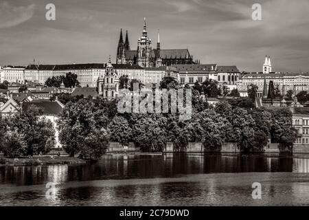 Pictures Black and white of Charles Bridge Over Vltava River In City Of Prague Czech Republic - Stock Photo
