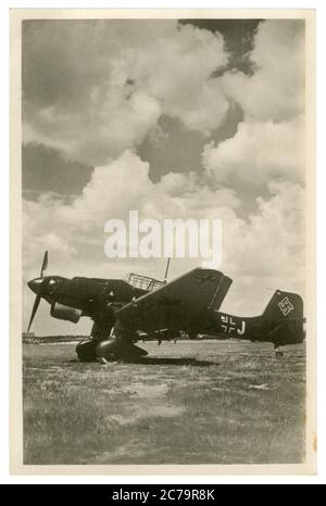 German historical photo postcard: Dive bombers Junkers Ju 87, Stuka - one of the symbols of the blitzkrieg, Luftwaffe, Germany, world war II - Stock Photo