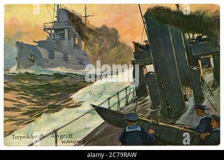 German historical postcard: Torpedo Boats Attack. Navy sailors on Board a warship at the torpedo tube. Sea battle, world war one 1914-1918. Germany - Stock Photo