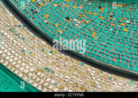 Turquoise mosaic. Square Turquoise background mosaic, ceramics. greenish-blue color mosaics on the floor - Stock Photo